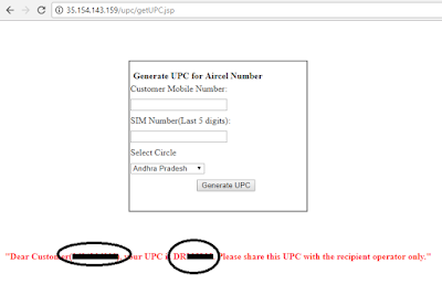 Aircel : Generate UPC Code Online Without Network or SMS http://www.nkworld4u.in/ Aircel MNP to Any Network