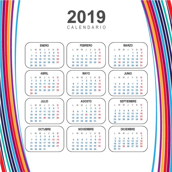 Calendario Moderno del 2019 en español