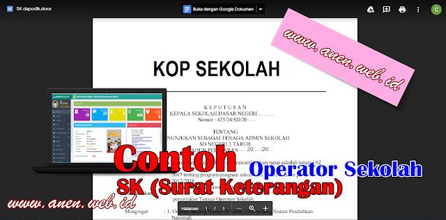 contoh sk operator sekolah 2019 doc (SD, SMP, SMA) - Edit Sendiri