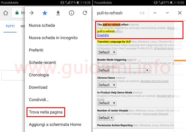 Chrome funzione sperimentale gesto aggiornamento pagina web