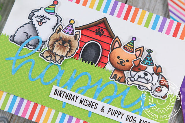Sunny Studio Stamps: Puppy Dog Kisses Party Pups Happy Word Die Birthday Cards by Juliana Michaels