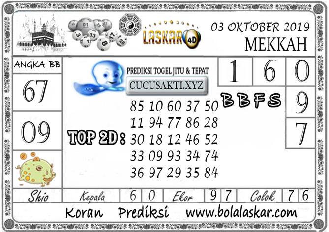 Prediksi Togel MEKKAH LASKAR4D 03 OKTOBER 2019