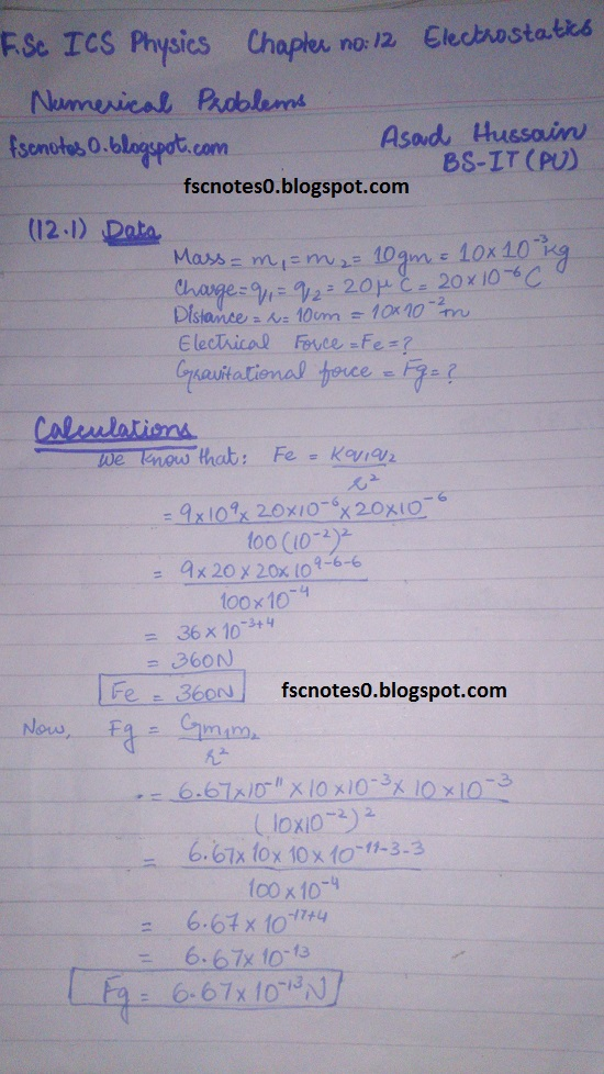 F.Sc ICS Notes: Physics XII: Chapter 12 Electrostatics Numerical Problems by Asad Hussain