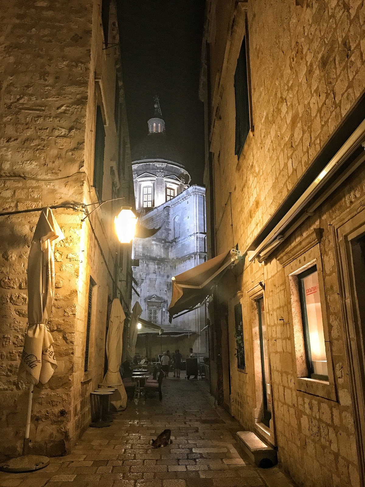 Dubrovnik Old city streets at night