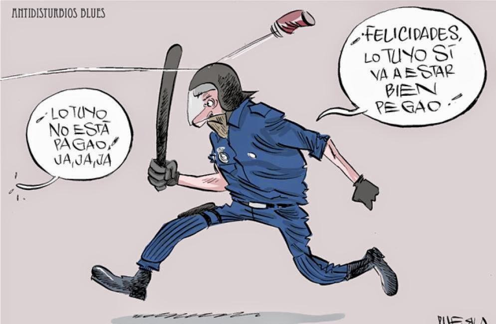 Viñeta humor Disturbios Sants por Puebla