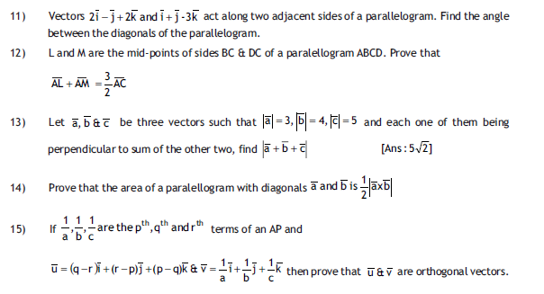 Vectors   Important  questions,notes for class 12,free notes for mathematics