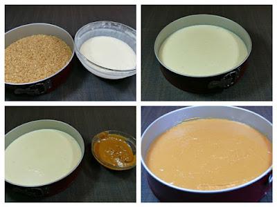Añadimos la mezcla de queso mascarpone al molde y refrigeramos hasta que endurezca, mínimo tres horas