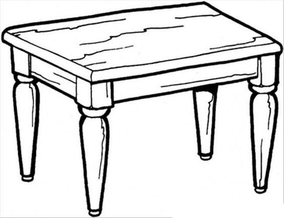 Tranh tô màu cái bàn hình chữ nhật