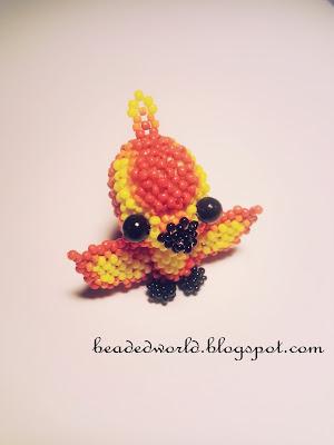 phoenix z koralików, feniks z koralików
