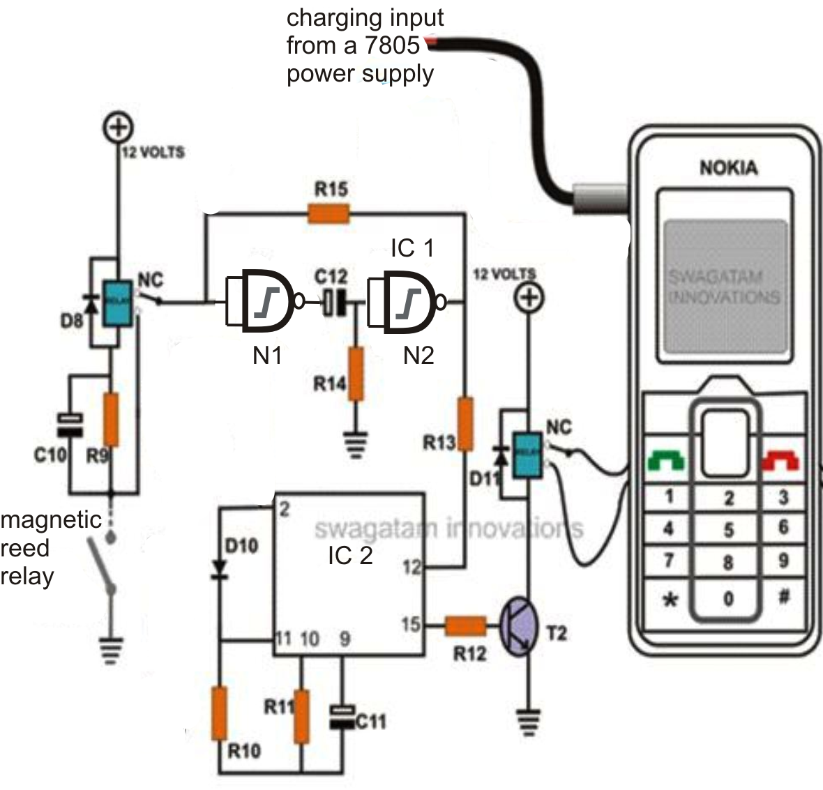 cell phone call alert security system circuit homemade circuit