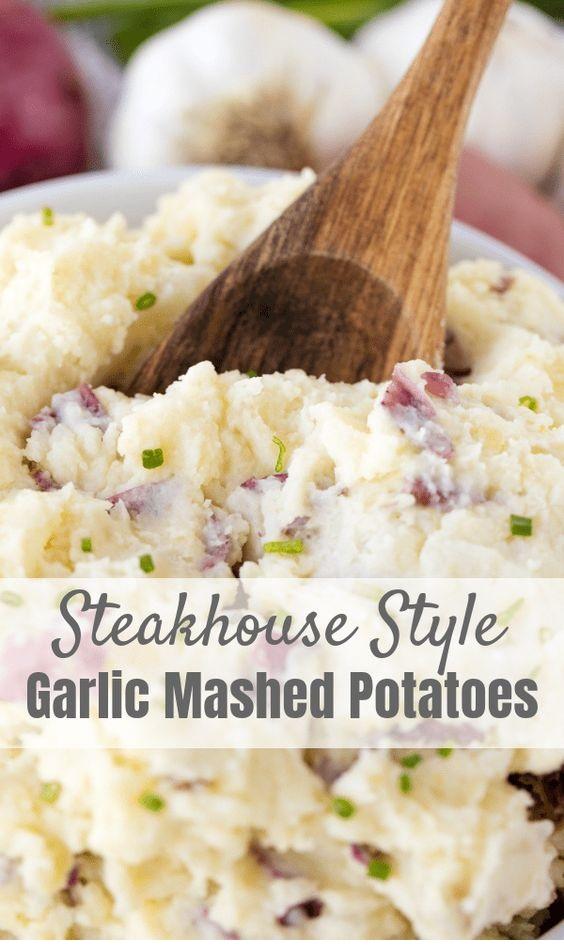 Steakhouse Style Garlic Mashed Potatoes