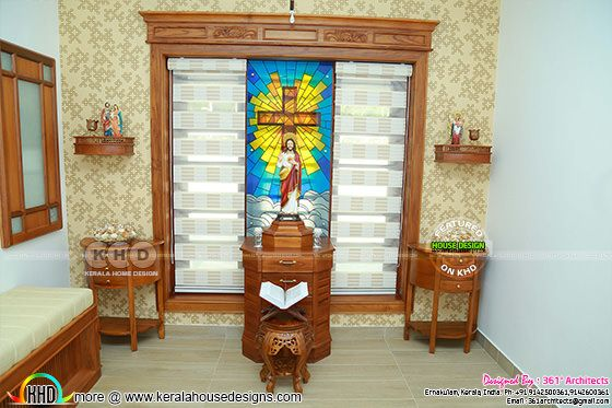 Christian prayer room in Kerala house