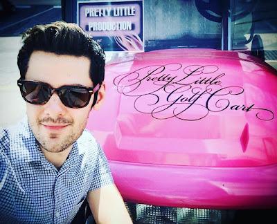 PLL bts episode 7x15 Brendan Robinson (Lucas) and the pink golf cart