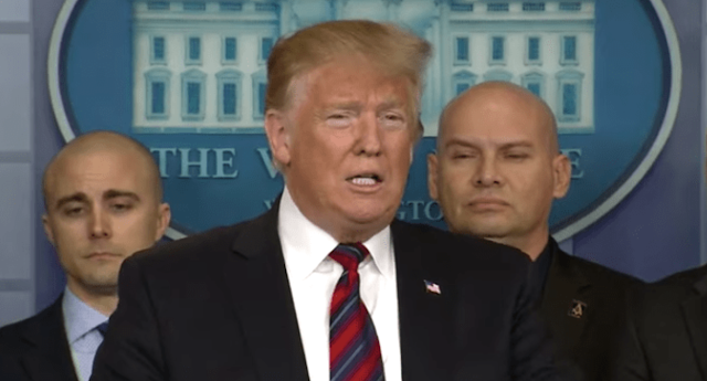 Trump Makes Surprise Visit at WH Press Briefing, Digs In and Stresses Importance of Border Wall