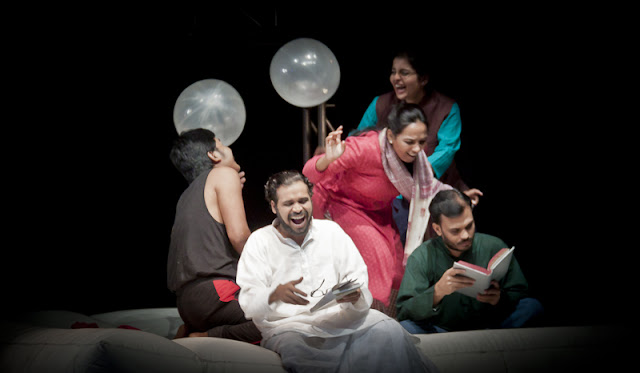 A large part of the play was enacted over this white divan which was Daddu's seat as well as the play area for the family.