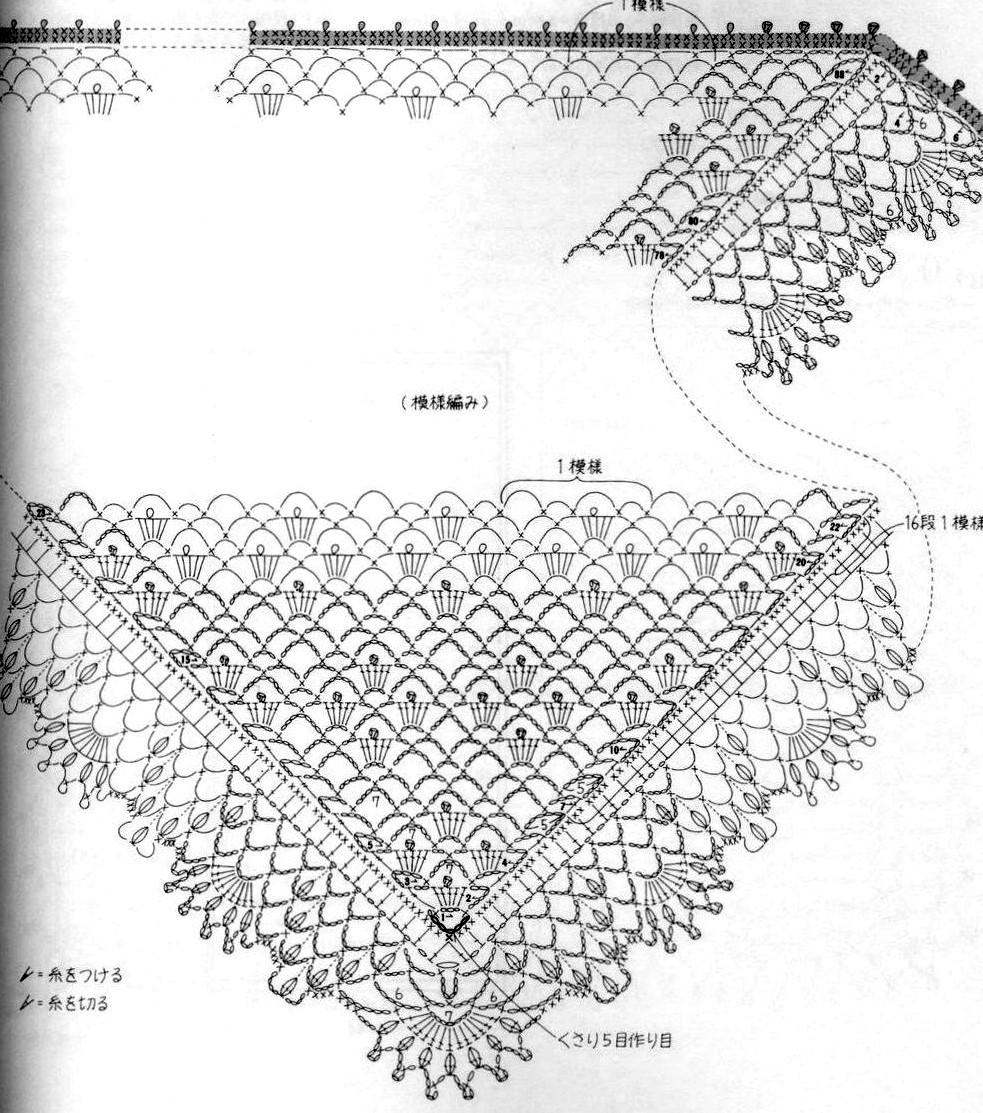 A punto de red patrones chal pico a crochet en seda for Remates a ganchillo