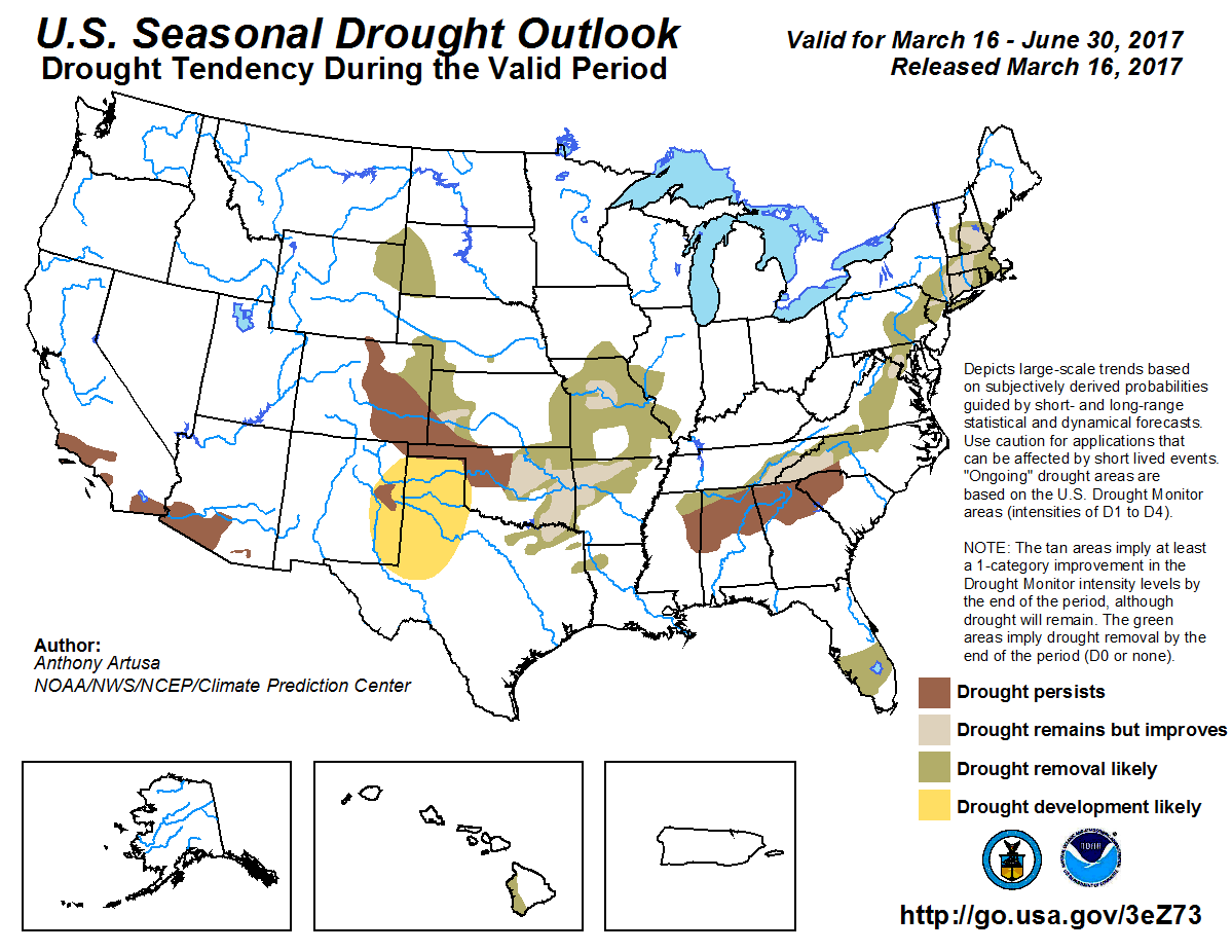 look at the map of improvement of the drought across parts of high plains of kansas the missouri and mississippi valley and the lack of development across