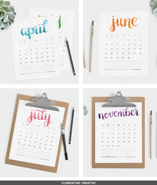 http://www.clementinecreative.co.za/free-printable-2016-calendar-brush-lettered/