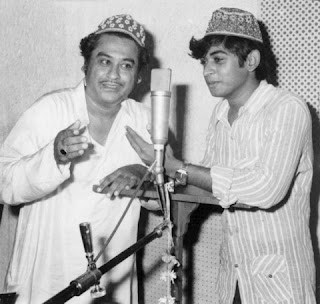 (Kishore Kumar had recorded song with this son Amit in this picture.)