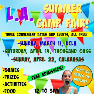 Colorful picture with flags and streamers promoting L.A. Camp Fair 2018 with Camp Fair events Sunday, March 11 at UCLA, Saturday, April 14 in Thousand Oaks Conejo Valley, and Sunday, April 22 at AC Stelle Middle School in Calabasas