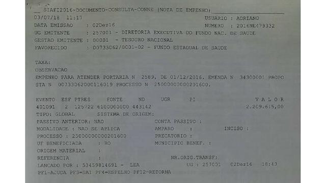 Emenda parlamentar da deputada Marinha Raupp hospital de Nova Mamoré