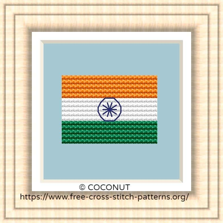 NATIONAL FLAG OF INDIA CROSS STITCH CHART