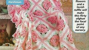 Bellísima mantilla para bebé con motivos florales - con esquemas