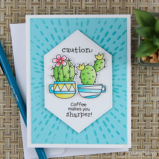 Caution Cactus Card by Juliana Michaels   Cuppa Cactus Coffee and Cactus stamp set by Newton's Nook Designs #newotnsnook