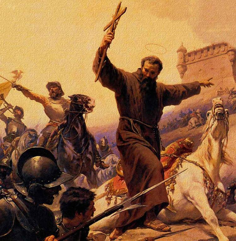 São Lourenço de Brindisi com crucifixo à mão ordena atacar.