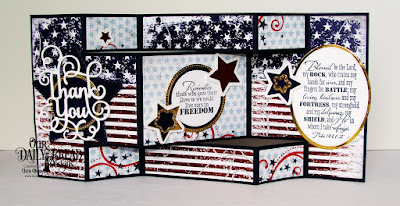 Our Daily Bread Designs Stamp Set: Remembrance, Paper Collection: Stars and Stripes, Custom Dies:  Tri-Shutter Card, Tri-Shutter Layers, Double Stitched Stars, Sparkling Stars, Ovals, Pierced Ovals, Circles, Pierced Circles, Thank You