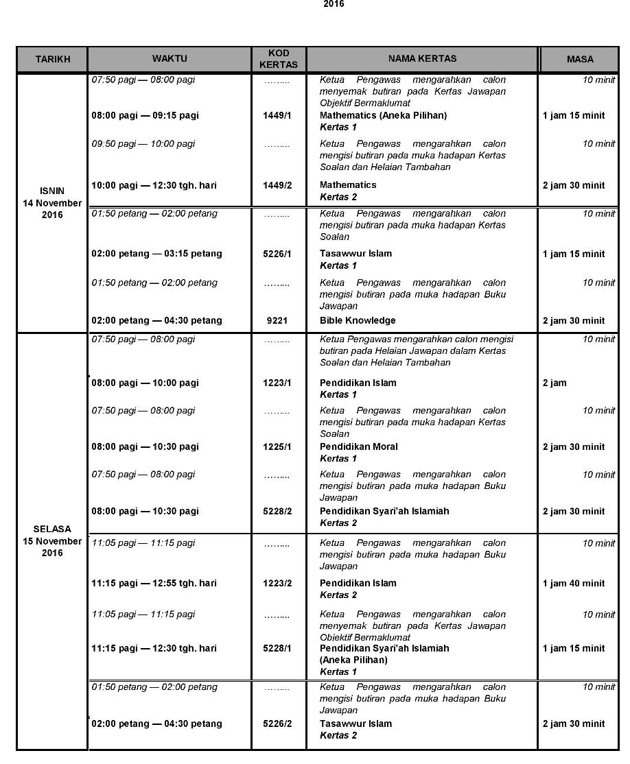 Jadual waktu Peperiksaan SPM 2016