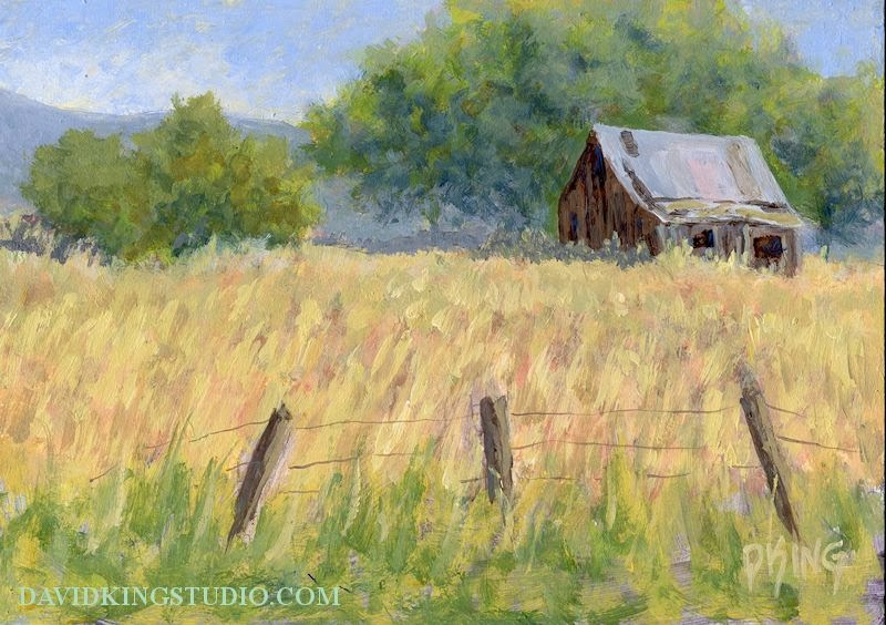 art painting landscape rural barn august summer impressionist