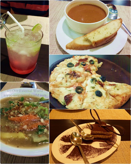 pizza, soup, mocktail, Chinese food