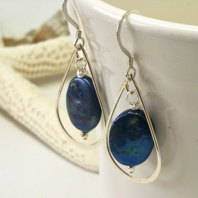 Modern Navy Blue Pearl Earrings by BayMoonDesign