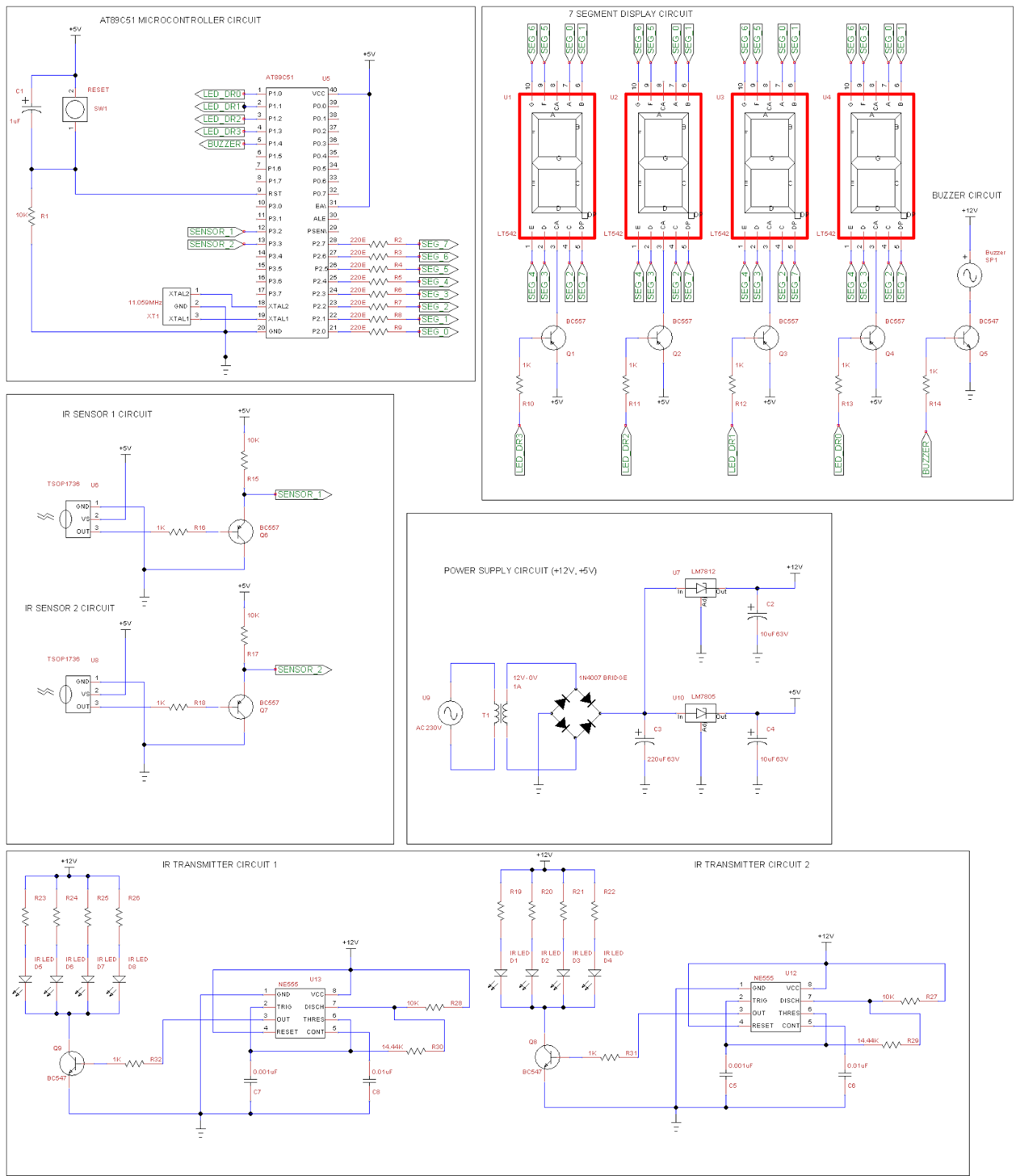 At89c51 Based Object Counter Using Ir Sensors And 4 Digit Seven Sensor Circuit Diagram 7 Segment Display Buzzer 3