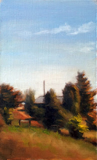 Oil painting of a number of different coniferous trees on a hillside, with a track leading up towards a shed and an almost cloudless blue sky above.
