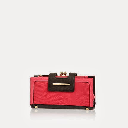 River Island Pink Contrast Snake Panel Purse