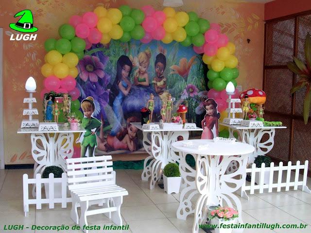 Decoração de festa tema infantil Tinker Bell - Provençal simples em mesas borboletas