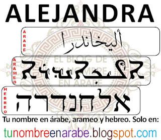 Alejandra escrito en hebreo para tatuajes