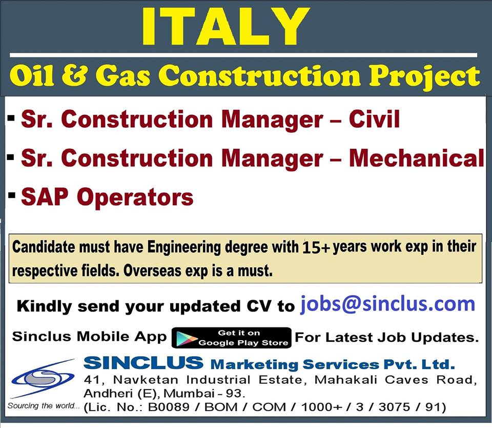 Oil & Gas Construction Project in Italy