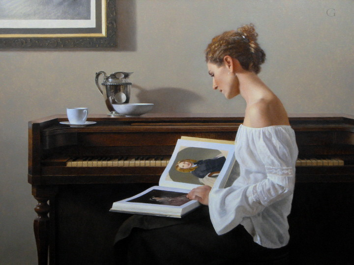 05-Jessica-with-Ingres-David-Gray-Lost-in-Thought-Realistic-Oil-Paintings-www-designstack-co
