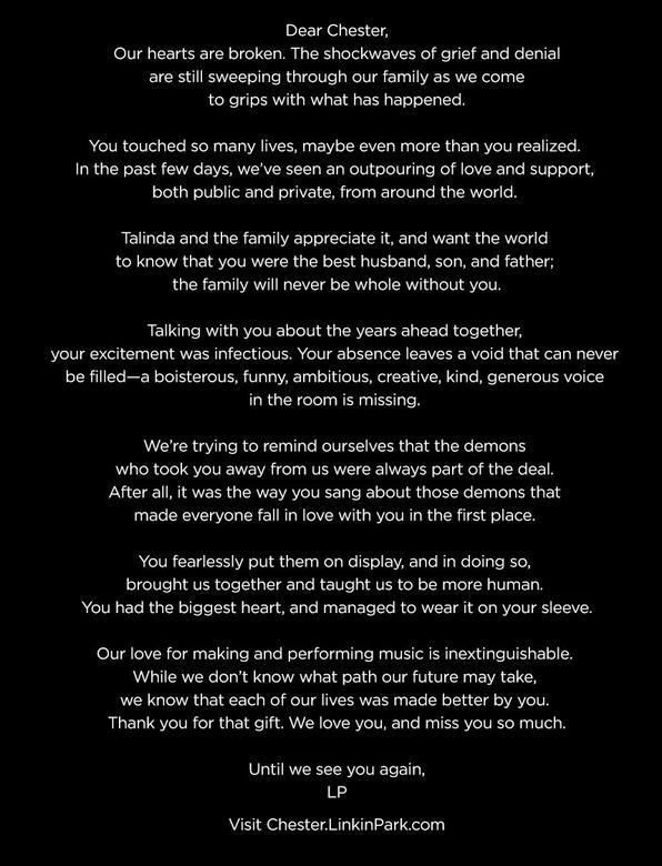 Linkin Park writes Chester Bennington a sad open goodbye letter