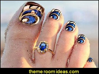 Blue Bling Toenail Art Jewelry Glitter Rhinestone Decor Toe Nail Tips Pre Designed Artificial Toe Nails