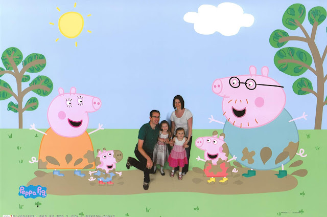 Curtis family with Peppa Pig family