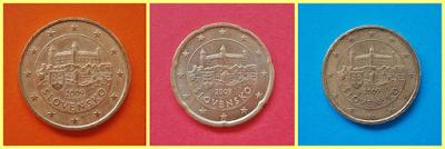 50, 20 y 10 céntimos Eslovaquia