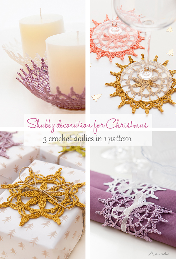 Anabelia craft design: Shabby decoration for Christmas, 3 crochet ...