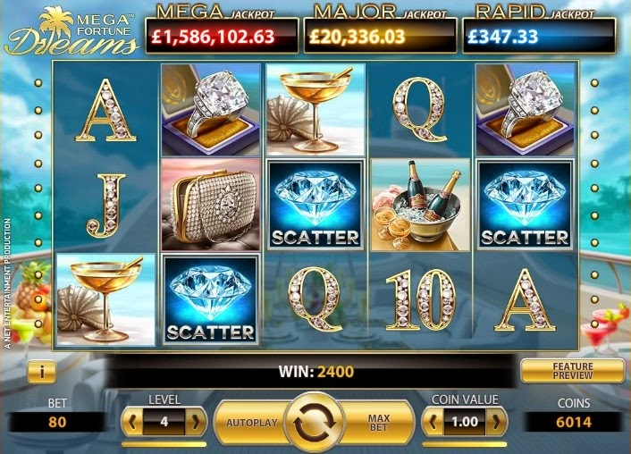 Megafortune Dreams Video Slot Screen