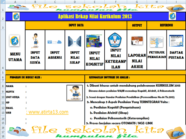 Unduh Aplikasi Daftar Nilai Kurikulum 2013 SD,SMP,SMA Dengan Excel