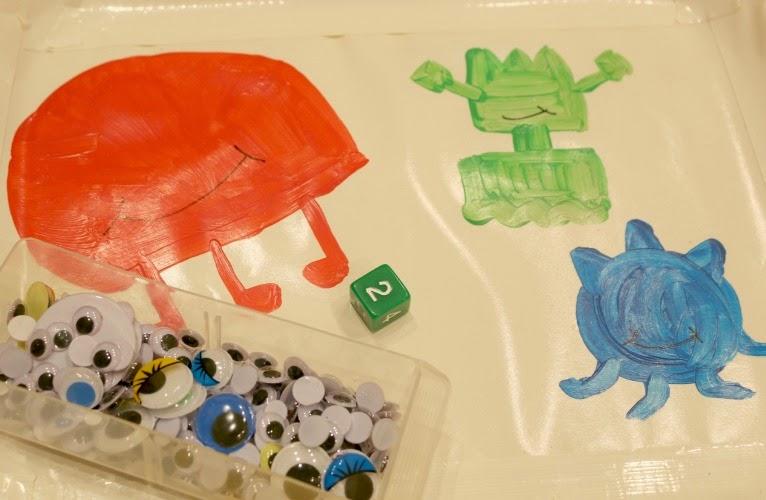 preschool math game with googly eyes