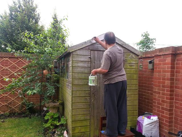 Man painting an old shed